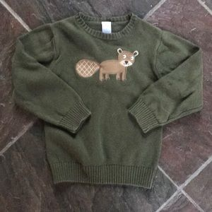 5t boys cotton sweater with adorable beaver.